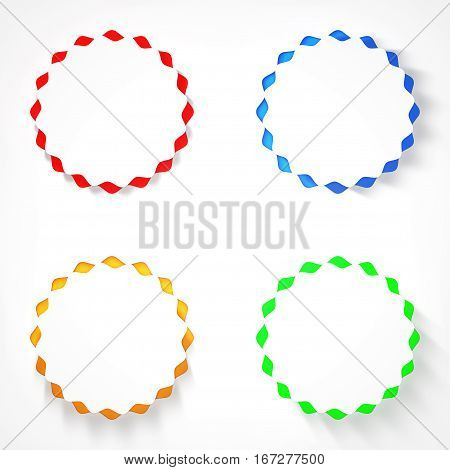 White Wave Circle Buttons on a multicolour background. 3d Rendering
