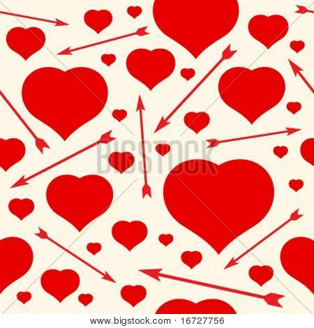 Hearts and arrows seamless background.  (See more seamless backgrounds in my portfolio).