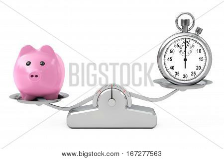 Piggy Bank and Stopwatch Balancing on a Simple Weighting Scale on a white background. 3d Rendering.