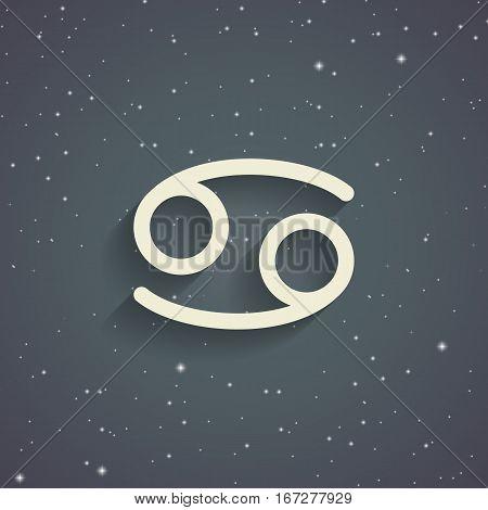 Cancer zodiac symbol zodiac icon on the background of gray starry sky