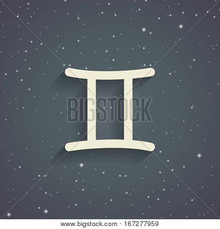 Gemini zodiac symbol zodiac icon on the background of gray starry sky