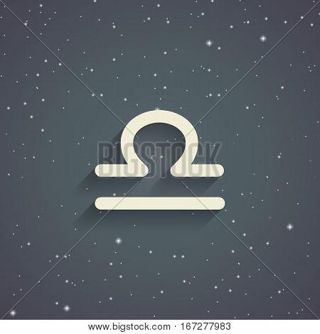 Libra zodiac symbol zodiac icon on the background of gray starry sky