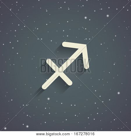 Sagittarius zodiac symbol zodiac icon on the background of gray starry sky