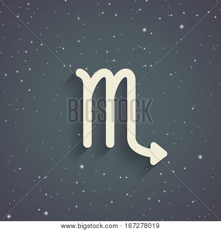 Scorpio zodiac symbol zodiac icon on the background of gray starry sky