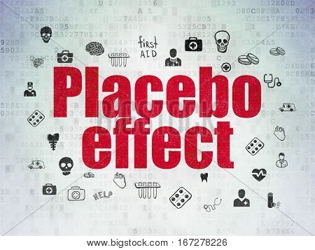 Healthcare concept: Painted red text Placebo Effect on Digital Data Paper background with  Hand Drawn Medicine Icons