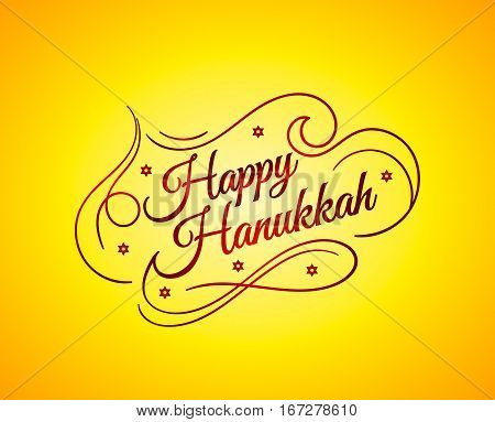 Happy Hanukkah inscription greeting card with hand-drawn typography calligraphy old design.Beautiful lettering text yellow brown background. Vector illustration EPS 10