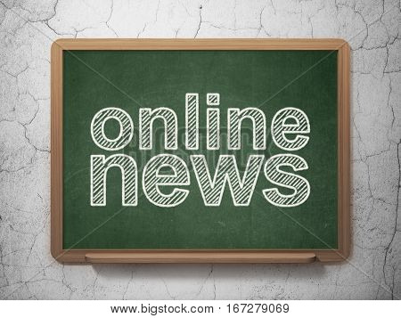News concept: text Online News on Green chalkboard on grunge wall background, 3D rendering