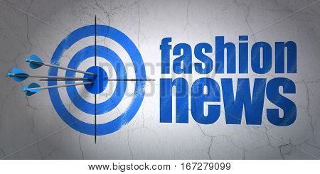 Success news concept: arrows hitting the center of target, Blue Fashion News on wall background, 3D rendering
