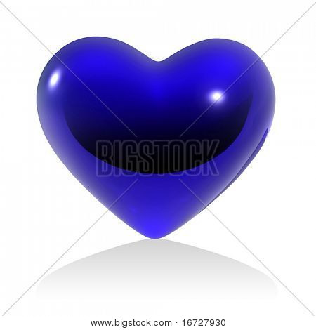 Blue heart on white background (isolated).  See more this theme in my portfolio.