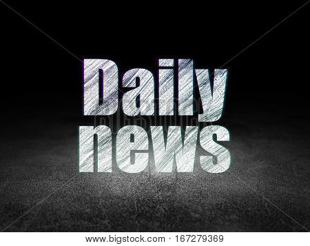 News concept: Glowing text Daily News in grunge dark room with Dirty Floor, black background