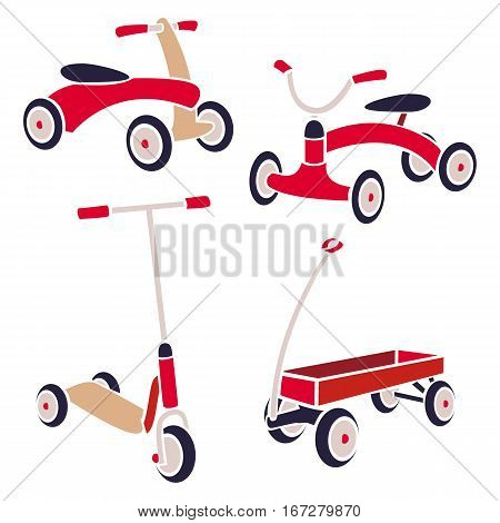 Vintage Kids Toys Bicycle, Kick Scooter, Red Wagon. Vector Collection