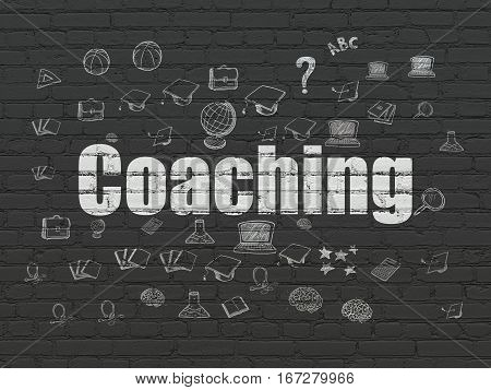 Learning concept: Painted white text Coaching on Black Brick wall background with  Hand Drawn Education Icons