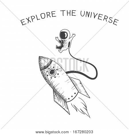 astronaut travel in outer space.Explore the universe.Vector illustration