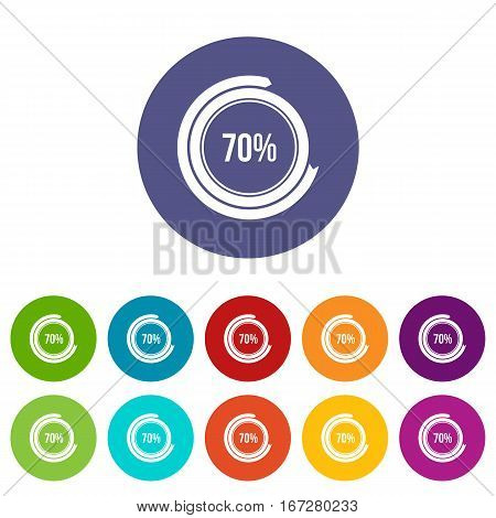 Sign 70 load set icons in different colors isolated on white background