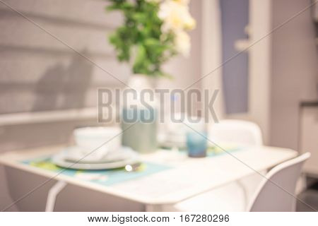 Blurred Background Of Dining Room.