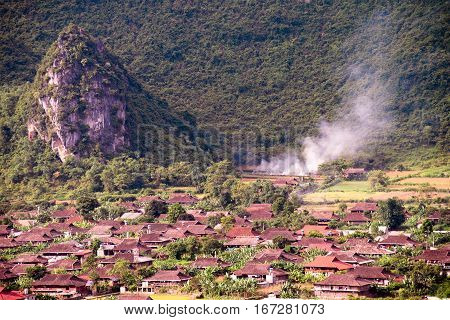Rural community at the foot of the hills in Bacson Valley Vietnam