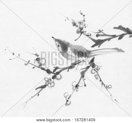Bird on a cherry branch sumi-e ink painting. Chinese Traditional Painting.