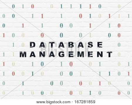 Database concept: Painted black text Database Management on White Brick wall background with Binary Code