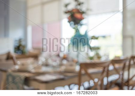 Blurred background of dining room. Blurred dining room.