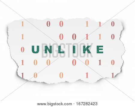 Social media concept: Painted green text Unlike on Torn Paper background with  Binary Code