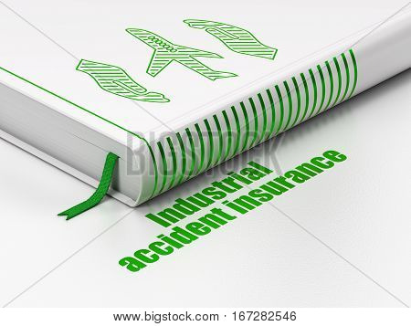 Insurance concept: closed book with Green Airplane And Palm icon and text Industrial Accident Insurance on floor, white background, 3D rendering