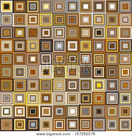 Vector design element. Color squares seamless pattern. Optical illusion. Yellow brown colors. Geometric background