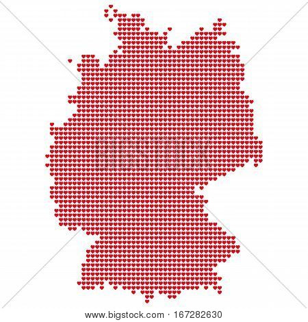 The Map Of Germany. Silhouette of Germany is made of small red hearts. Original abstract vector illustration for your design.