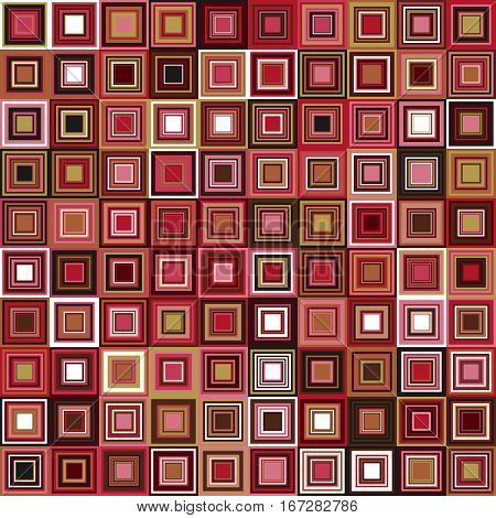 Vector design element. Color squares seamless pattern. Optical illusion. Red pink brown colors. Geometric background