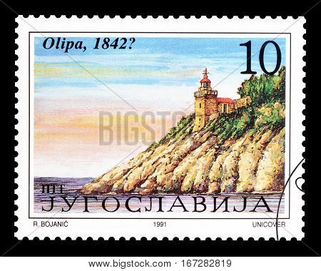 YUGOSLAVIA - CIRCA 1991 : Cancelled postage stamp printed by Yugoslavia, that shows  Lighthouse Olipa.