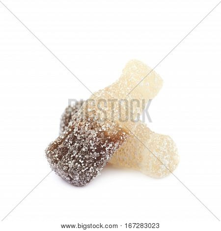 Fizzy drink shaped sour jelly candy isolated over the white background