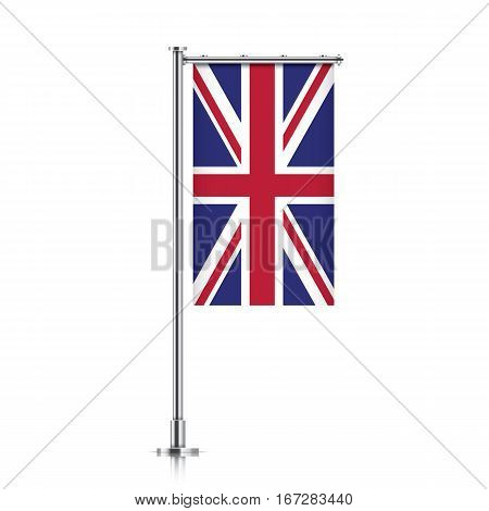 Great Britain vector banner flag hanging on a silver metallic pole. Vertical UK flag template isolated on a white background.