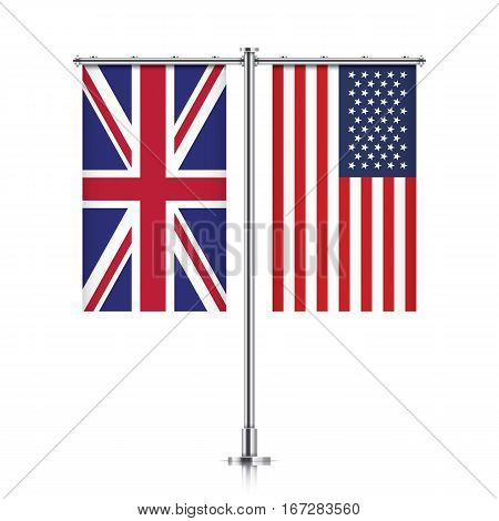 Great Britain and United States vector banner flags, hanging side by side on a silver metallic poles. UK and USA friendship concept.