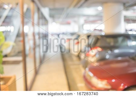 Abstract Blurred Parking Car For Background.