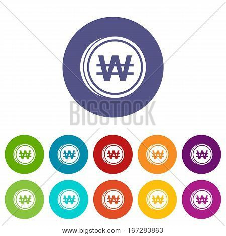 Coins won set icons in different colors isolated on white background