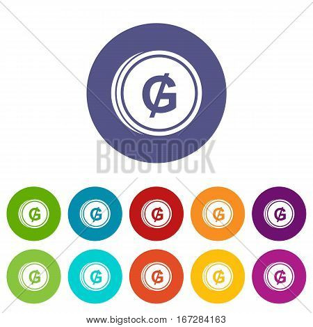 Coin guarani set icons in different colors isolated on white background