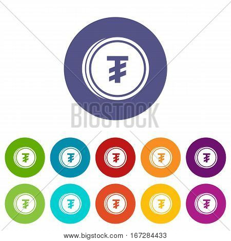 Tugrik coin set icons in different colors isolated on white background