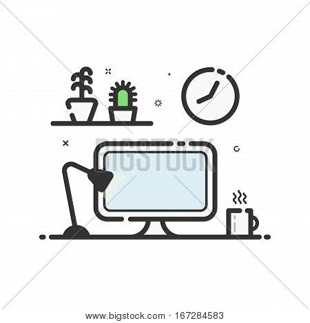 Vector illustration of color icon in flat line style. Linear computer desk lamp, flowers. Graphic concept of work place design studio use in Web Project and Applications. Outline isolated object.