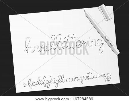 Font. Script. Handwritten calligraphy script alphabet typeface