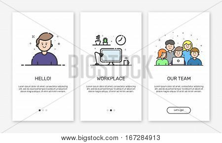 Vector Illustration of onboarding app screens and web concept design team for mobile apps in flat bold line style. Modern color interface UX, UI GUI screen template for smart phone or web site banners