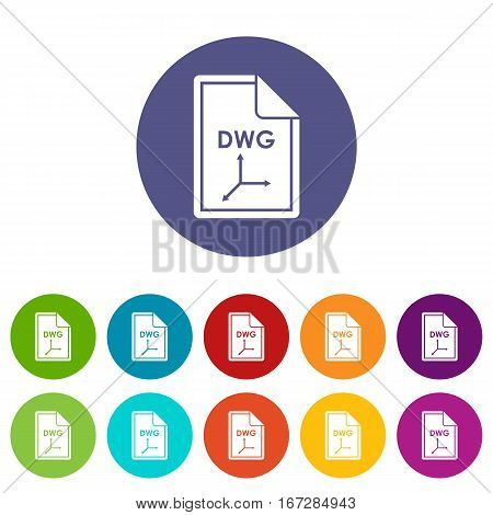File DWG set icons in different colors isolated on white background
