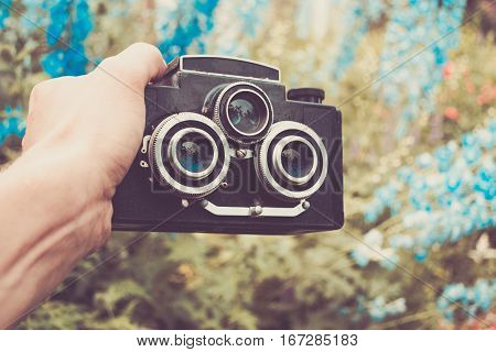 Vintage and retro photo camera whit two lenses