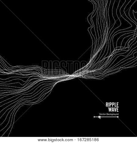 Wave Background. Ripple Grid. Vector Illustration. Water Or Smoke Splash Imitation