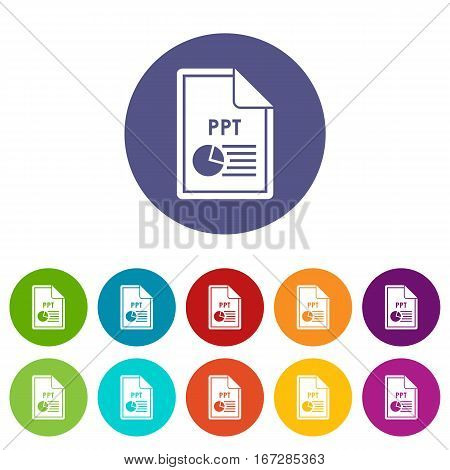 File PPT set icons in different colors isolated on white background