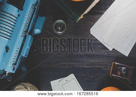 Vintage Adding Machine On An Old Desk