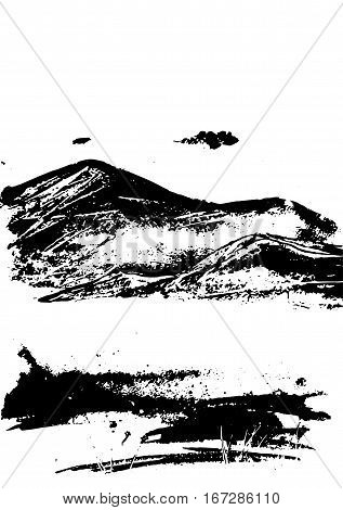 Black mountain range with texture on white. Landscape sketch. Hiking travel and camping concept. For tourism organisations outdoor events and mountains leisure. Engraving style. Vector illustration