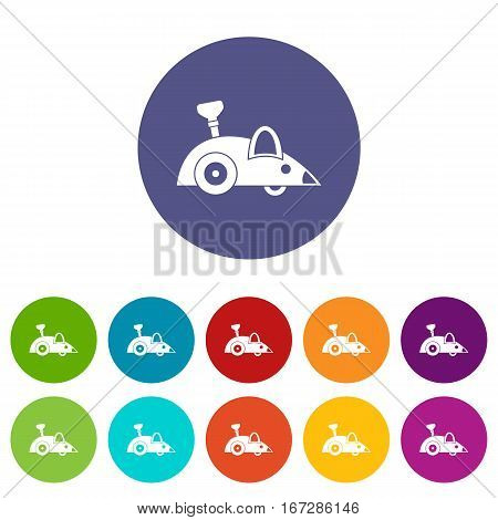 Clockwork mouse set icons in different colors isolated on white background