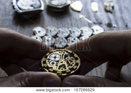 The procces of watch repair with the special tools