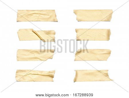 Collection of various adhesive tape pieces on white background. Each one is shot separately, including Clipping Path