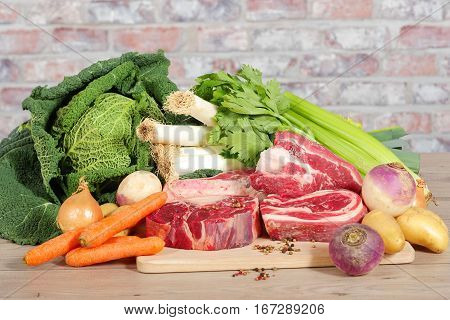Beef and vegetables for the preparation of French pot-au-feu