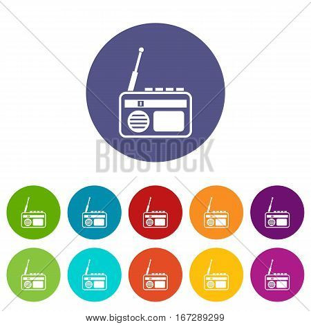Radio set icons in different colors isolated on white background